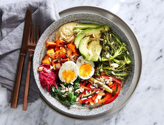 how to eat healthy, healthy meal plans, bowl full of vegetables, seeds and herbs, boiled egg, healthy salad