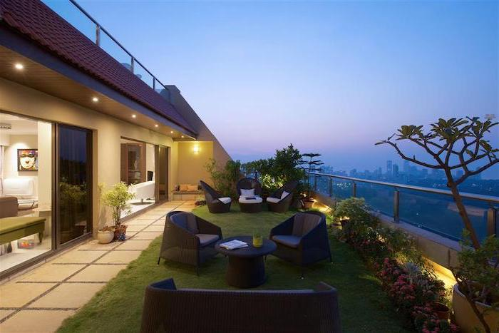 balcony overlooking a city landscape, garden furniture, on a path of grass, backyard garden ideas, planted trees and bushes
