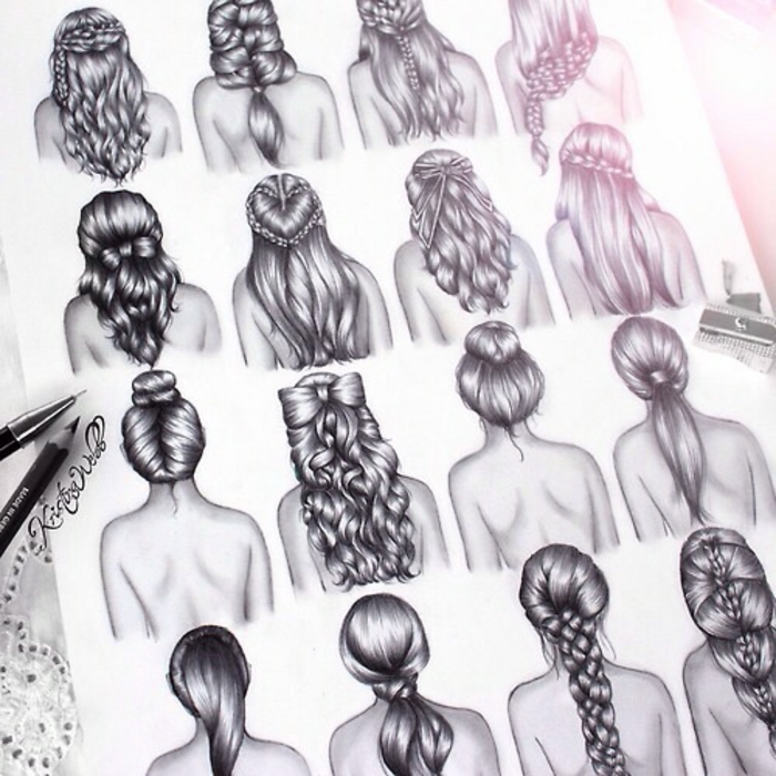 drawings of different hairstyles, cute girl drawing, black and white sketch, hair in ponytails braids and bows