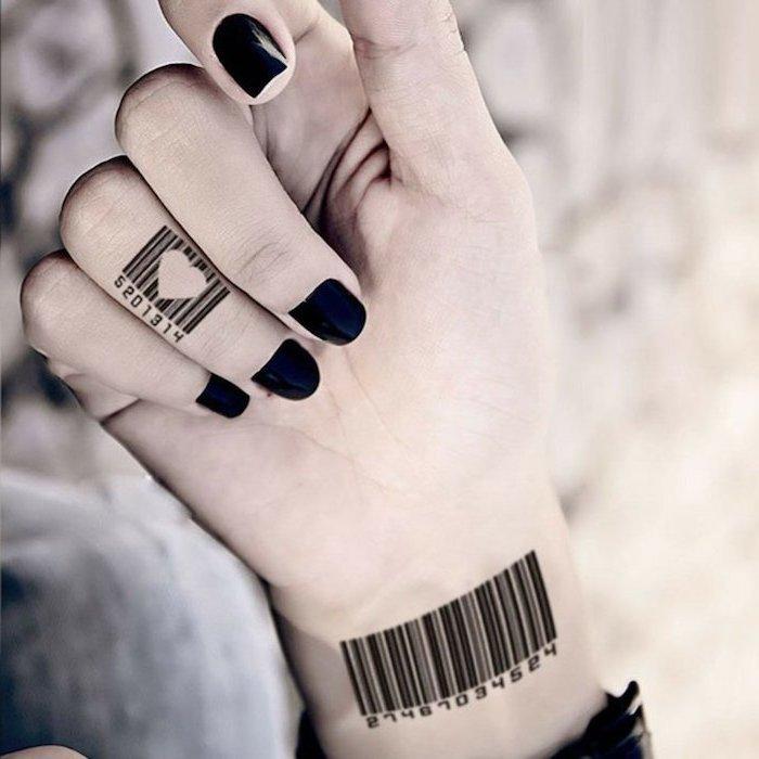 heart shaped barcode, ring finger tattoo, barcode wrist tattoo, finger tattoo ideas, black nail polish