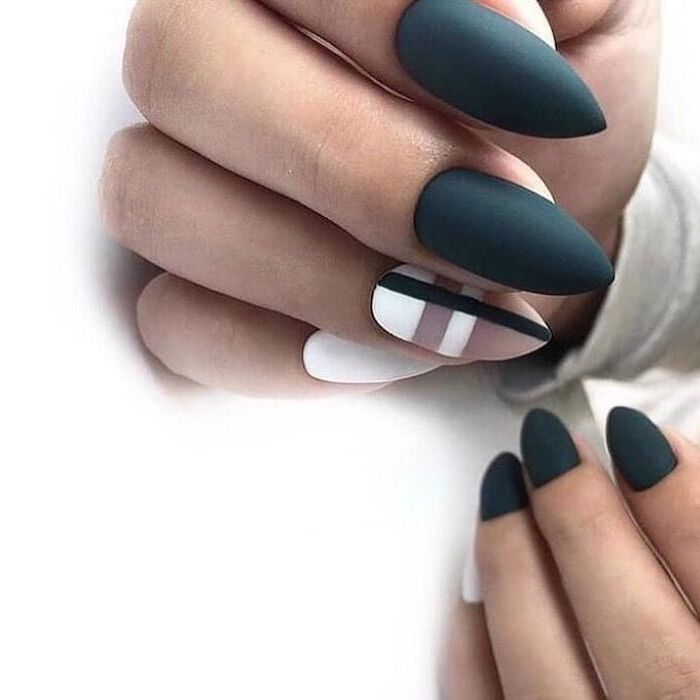 grey matte nail polish, nude and white matte nail polish, geometrical shapes, nail art designs