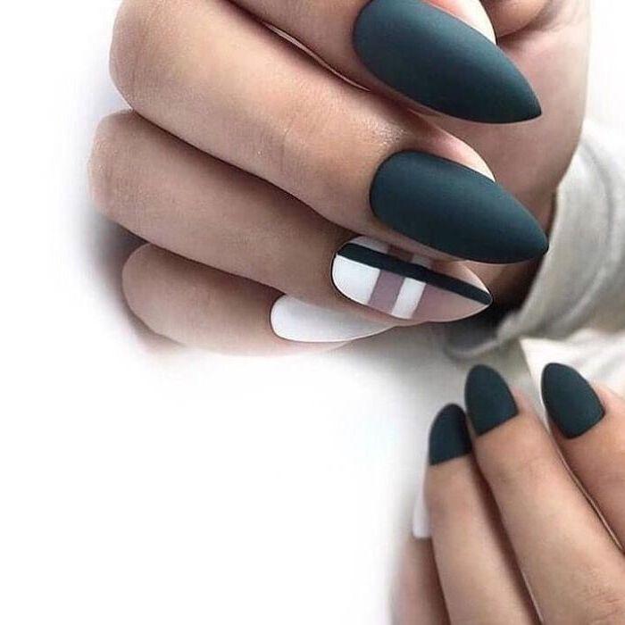 grey matte nail polish, nude and white matte nail polish, geometrical shapes, nail art designs