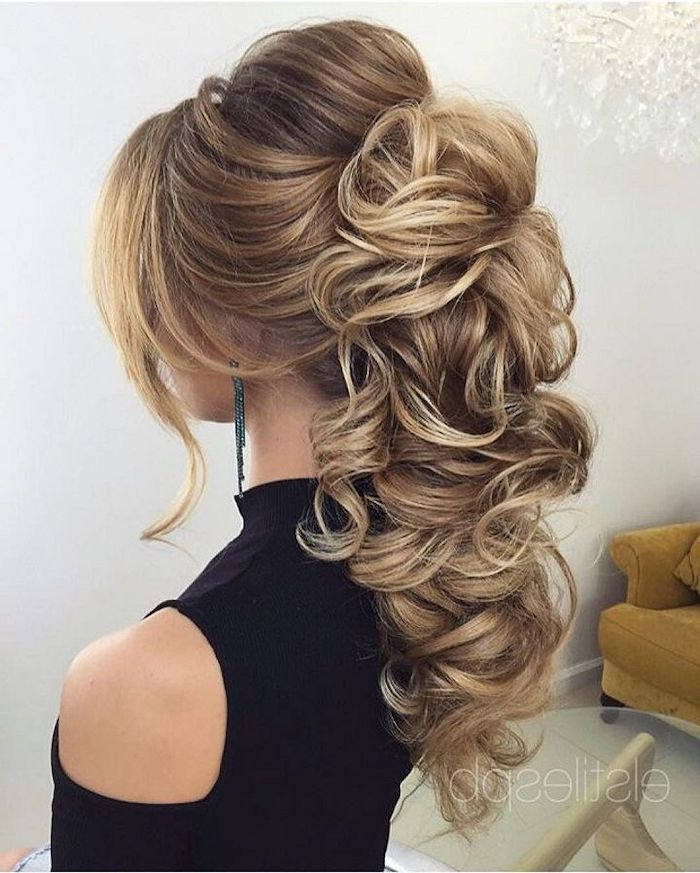 high wavy ponytail, long blonde hair with highlights, long hair wedding styles, black top