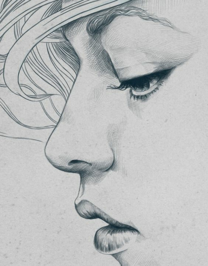 profile of a face, black and white drawings, white background, sad girl, full lips