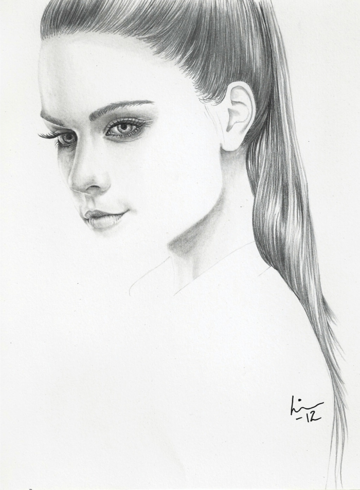 long high ponytail, black and white drawings, white background, drawing of a girl's profile
