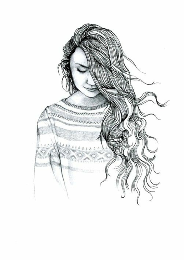 patterned blouse, long wavy hair, black and white sketch, how to draw anime girl