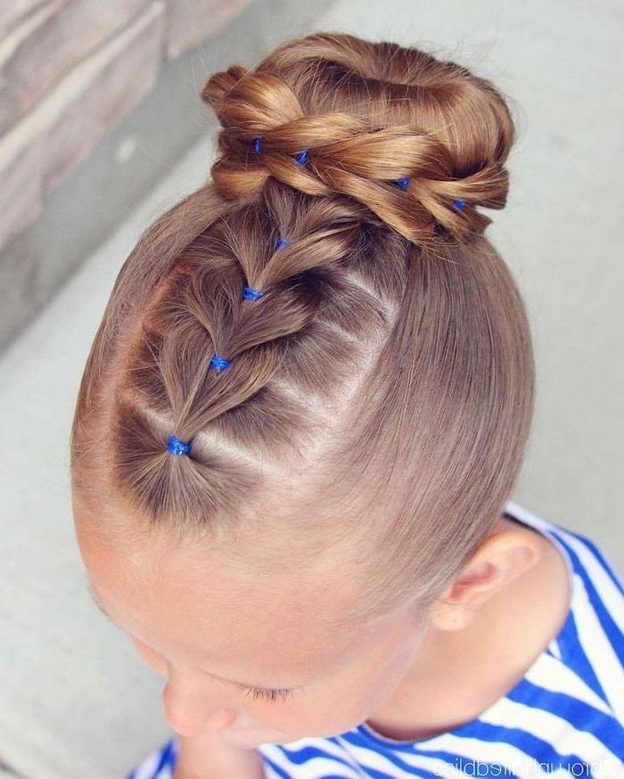 blonde hair, braided bun, blue and white top, cute braided hairstyles, blurred background
