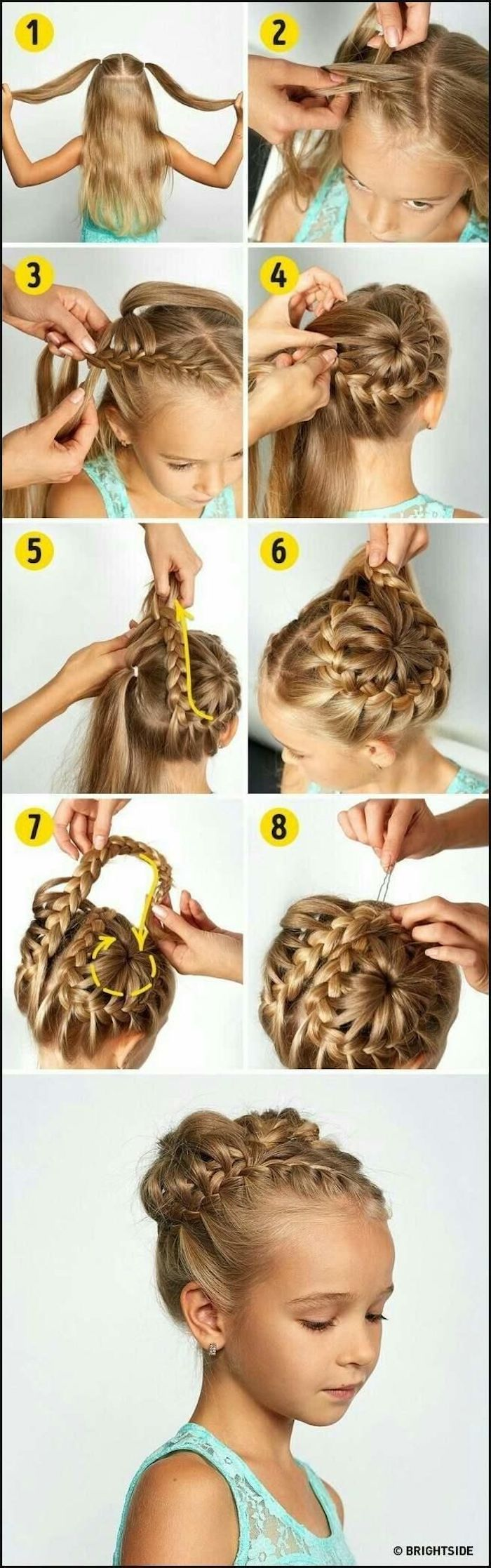turquoise top, braid hairstyles for kids, long blonde hair, in a braided bun, white background