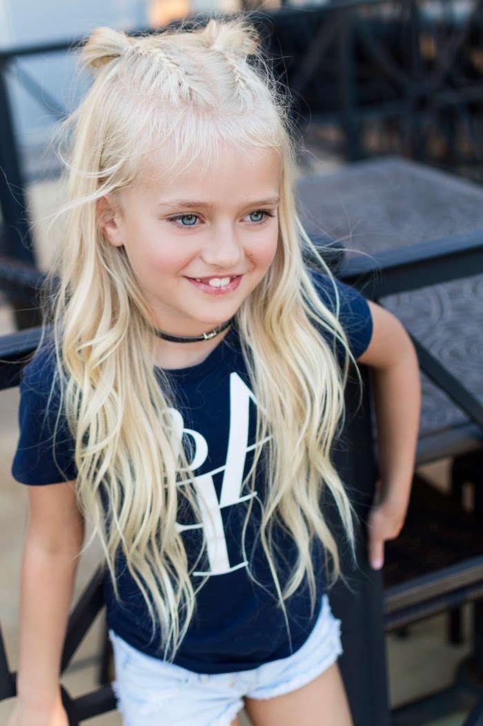 7b7cc3847 long wavy light blonde hair, two braids ending in two buns, cute hairstyles  for Little girl hairstyles ...