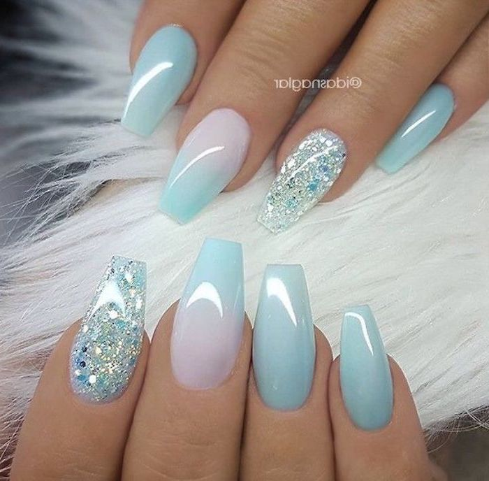 blue and pink ombre nail polish, blue glitter nail polish, easy nail designs, short coffin nails
