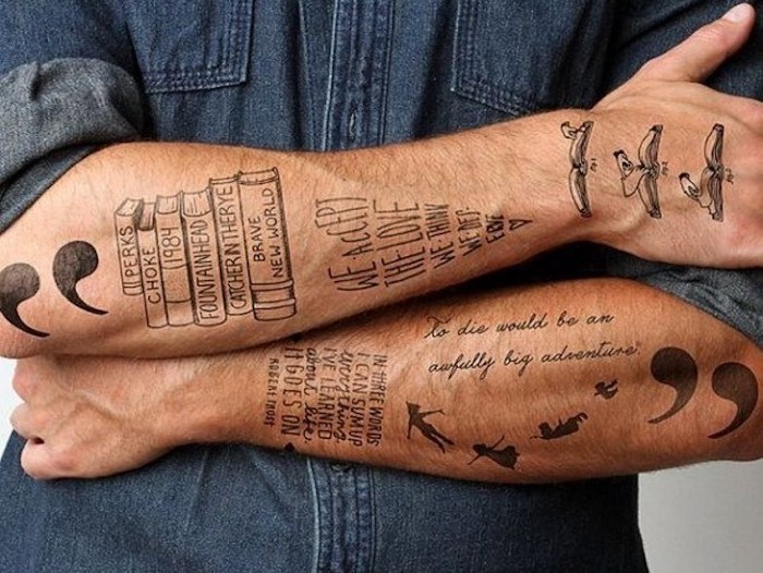 denim shirt, sleeve tattoos for men, different tattoos, on the forearms and wrists, inscriptions and books