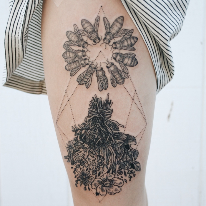 bouquet of flowers, swarm of flies, geometrical dots, geometric tattoo sleeve, white background