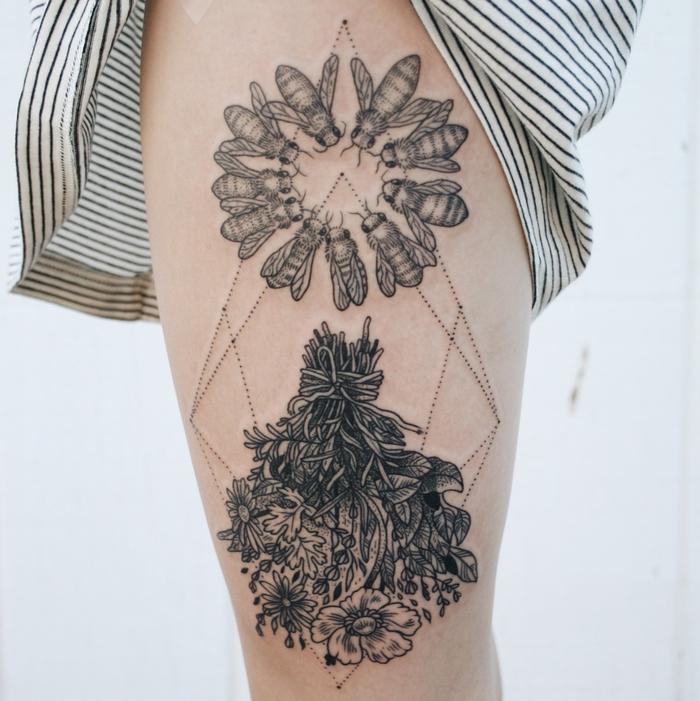 bouquet of flowers, swarm of flies, geometrical dots, geometric tattoo sleeve, white background