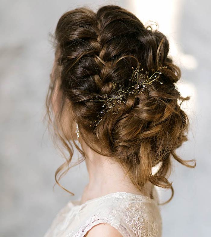 long brown hair with highlights, in a braided updo, wedding hairstyles updo, small hair accessory