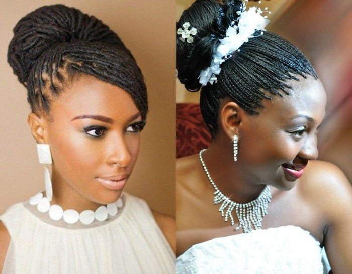 side by side photos, braided updos, black hair, bridal updos, with and without hair accessory