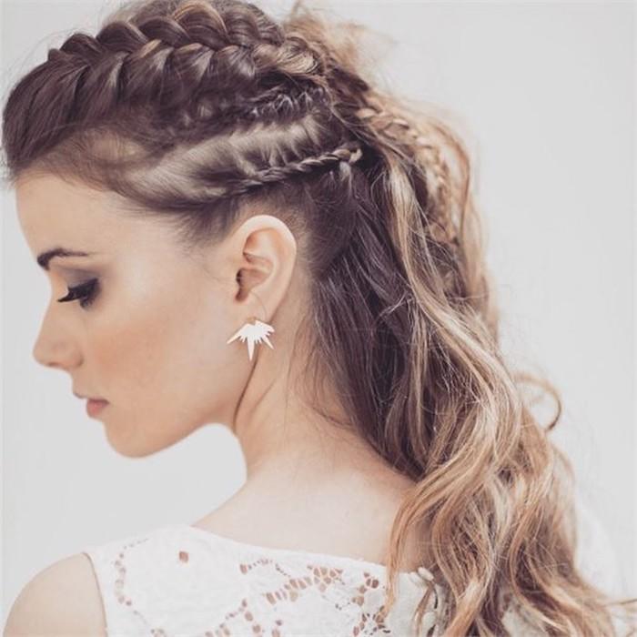 half up half down, long brown wavy hair, with braids, bridal updos, white dress, white background