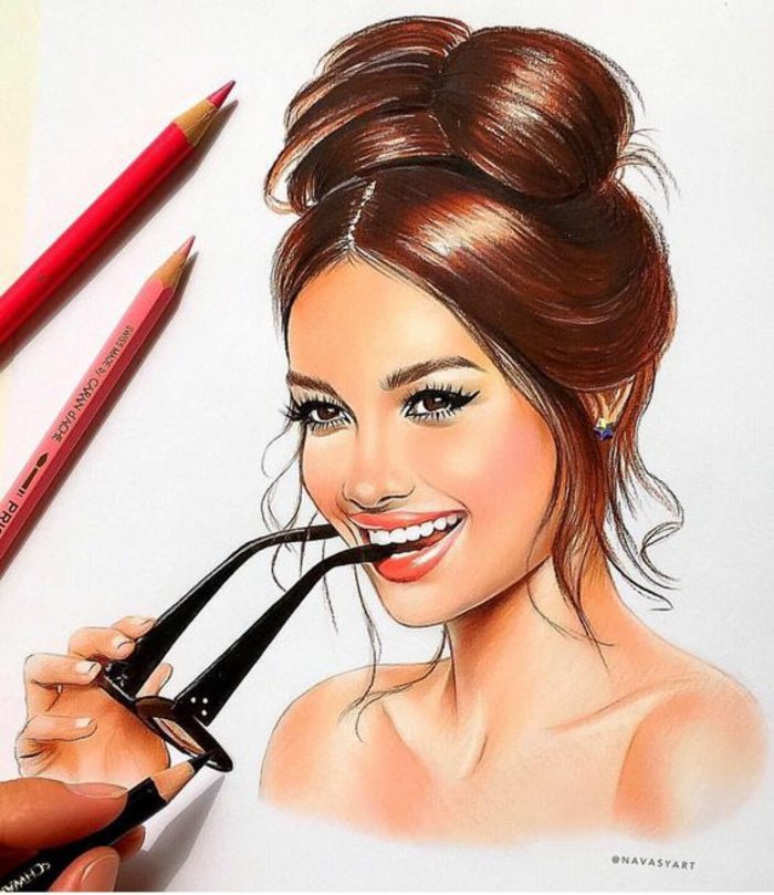 brown hair in a messy bun, girl holding sunglasses, girl drawing easy, red and pink pencils
