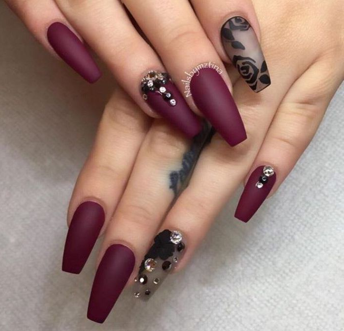 burgundy matte nail polish, simple nail designs, flowers drawn with black matte nail polish, with rhinestones, cute easy nail designs for short nails