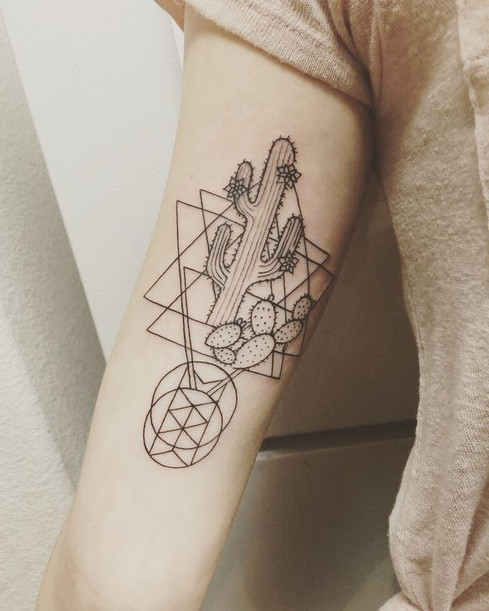 cactuses and geometrical stars, geometric tattoo sleeve, white background, beige shirt