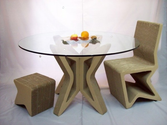 cardboard chair and stool, table made out of cardboard and glass, diy cardboard