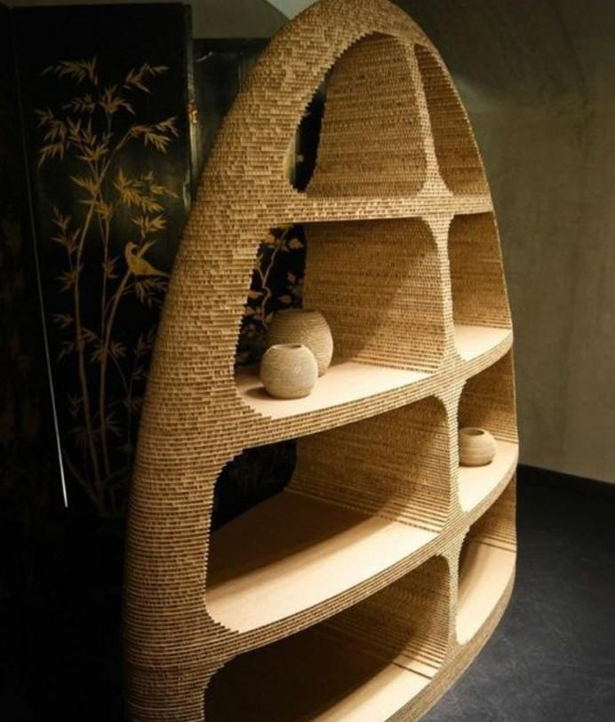 large cardboard bookshelf, diy cardboard, intricate modern design, cardboard vases on the shelves