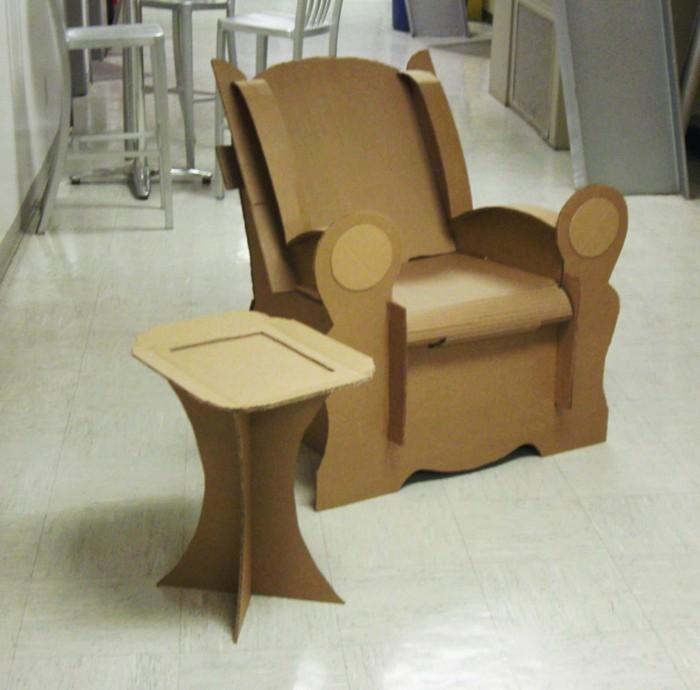 white tiled floor, cardboard dresser, cardboard armchair, cardboard side coffee table