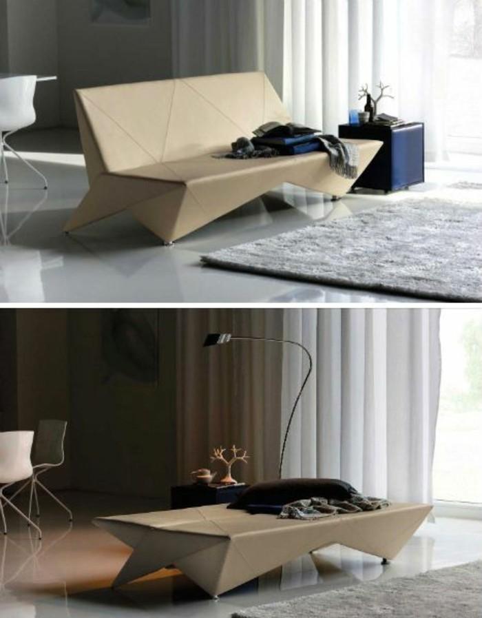 cardboard sofa, cardboard shelves, grey carpet, blue night stand, cardboard bed