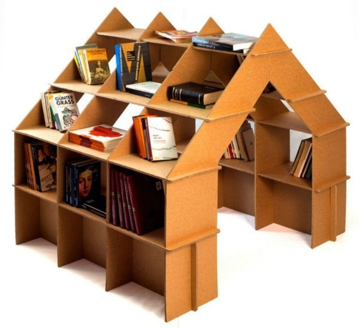 cardboard bookshelf, in the shape of a house, how to make cardboard, lots of books