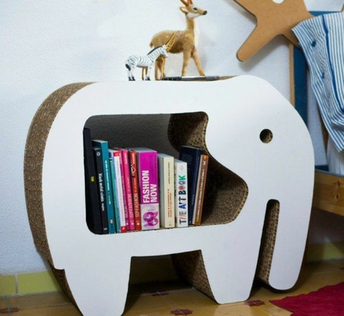 cardboard night stand, in the shape of an elephant, how to make cardboard, lots of books