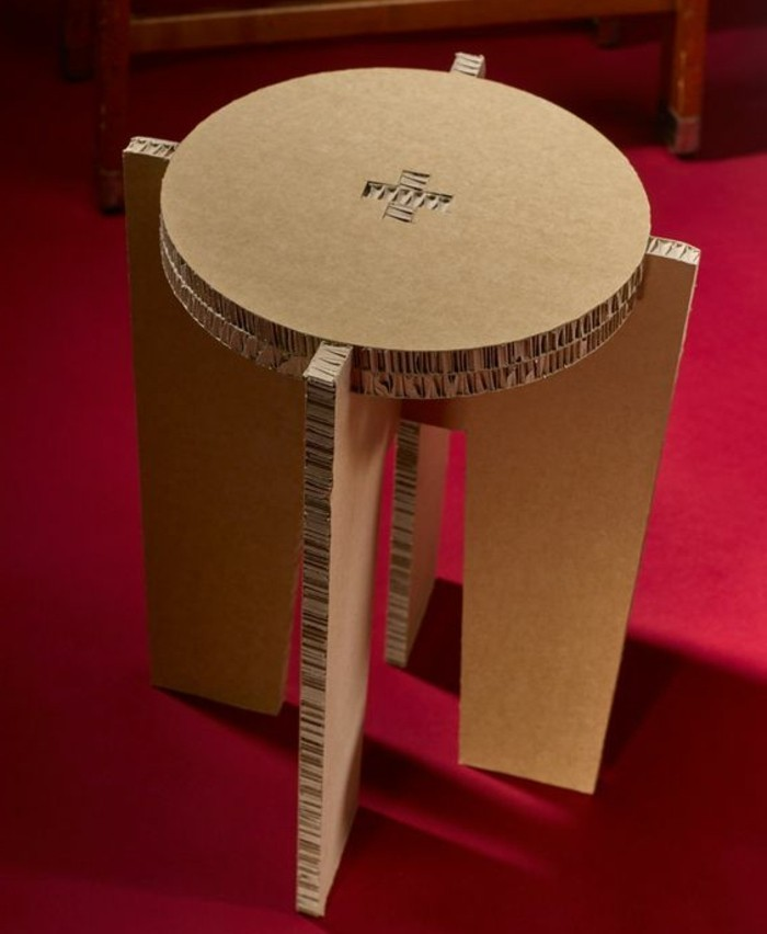 cardboard furniture diy, cardboard table, cardboard stool, on a red carpet