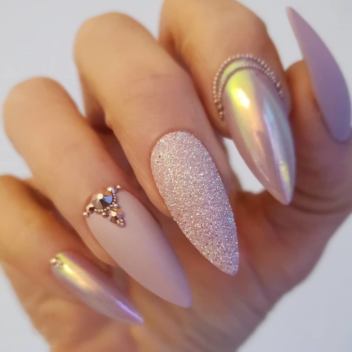 pink matte nail polish, simple nail designs, chrome and glitter nail polish, long stiletto nails