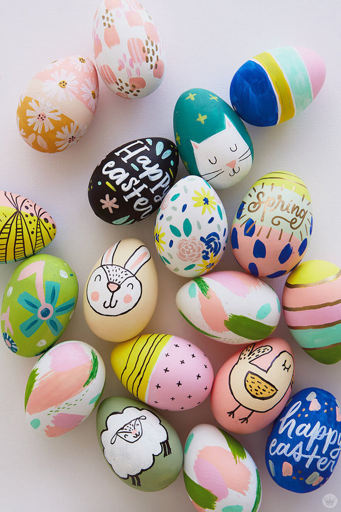 colourful easter eggs, on a white countertop, happy easter, shaving cream easter eggs, eggs with animals