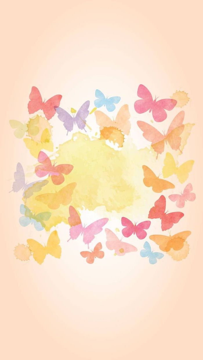 drawing of butterflies, colourful phone wallpaper, spring images, phone background