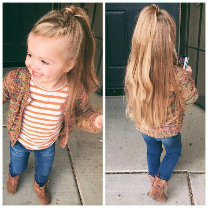 long blonde hair, braid ending in a high ponytail, colourful cardigan, short hairstyles for girls