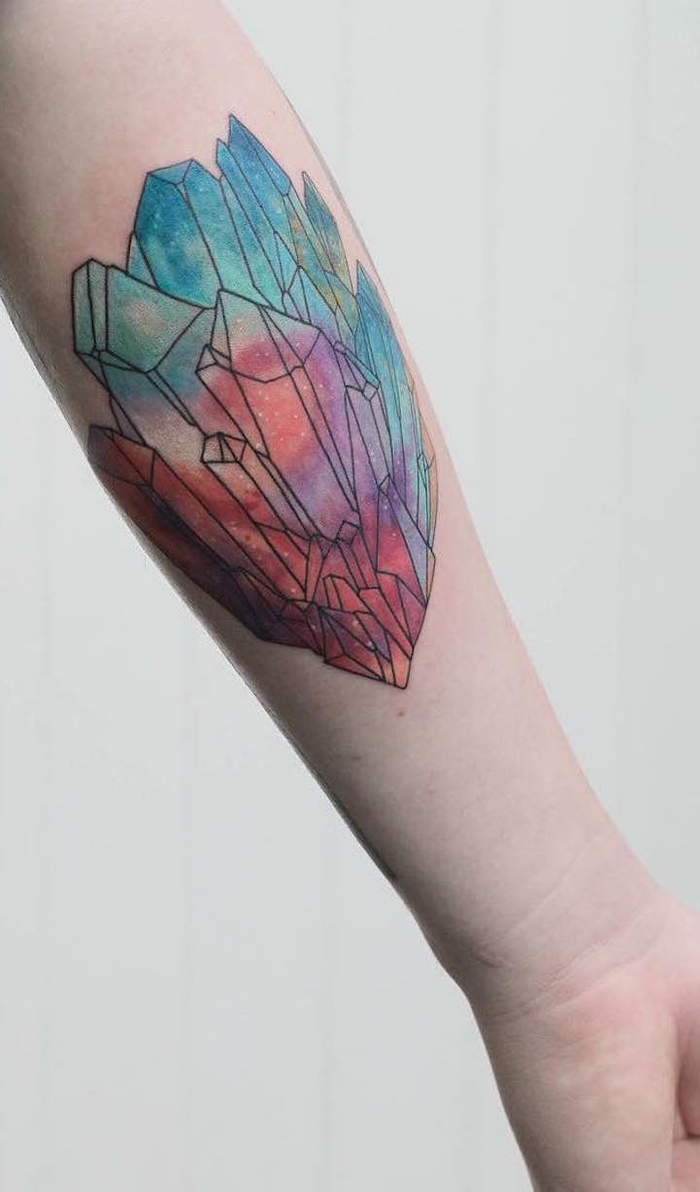 colourful crystals, forearm tattoo, sacred tattoo, white background