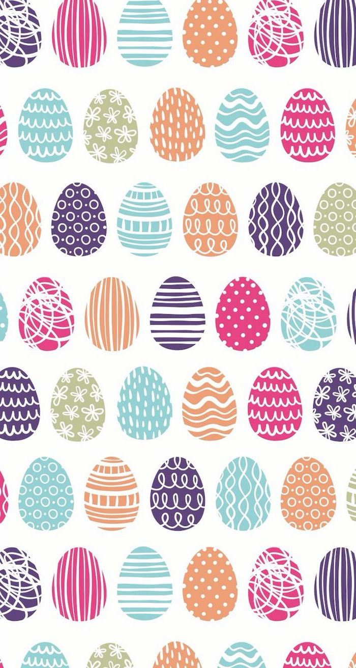 lots of colourful eggs, drawn on a white background, spring images, easter themed phone wallpaper