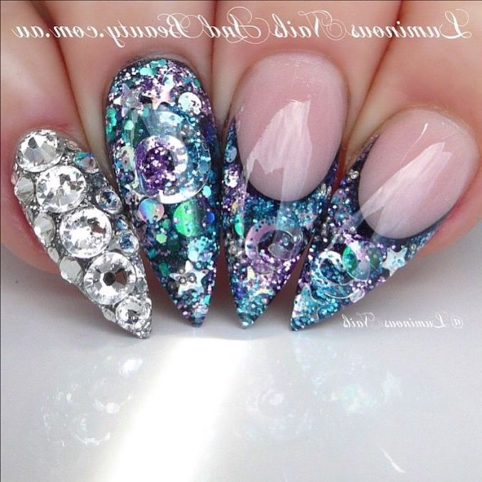 rhinestones on the nails, 3d manicure, simple nail designs, long stiletto nails, top coat nail polish