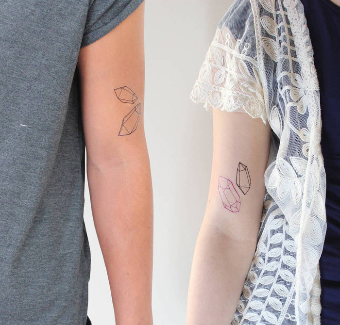 matching couple tattoos, crystals on the inside of the arm, sacred tattoo, white background
