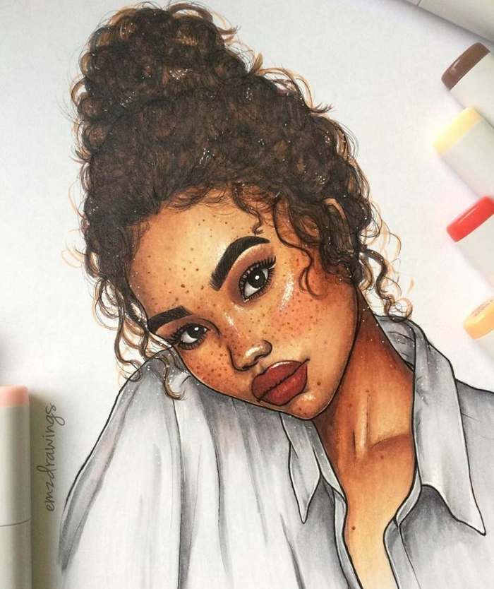 cute drawings, drawing of a girl, with brown curly hair, in a messy bun, white shirt, red lips