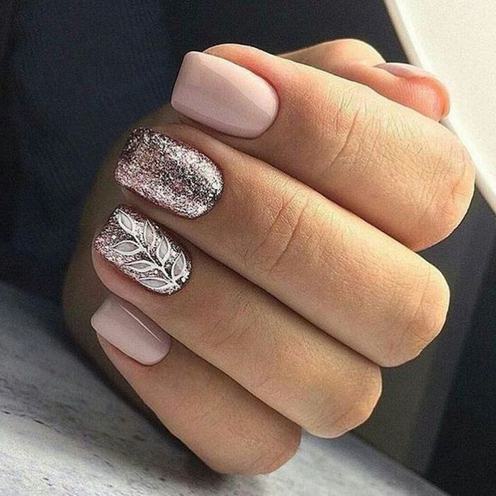 nude nail polish, rose gold nails polish, simple nail designs, squoval nails, leaves drawn on one of the nails