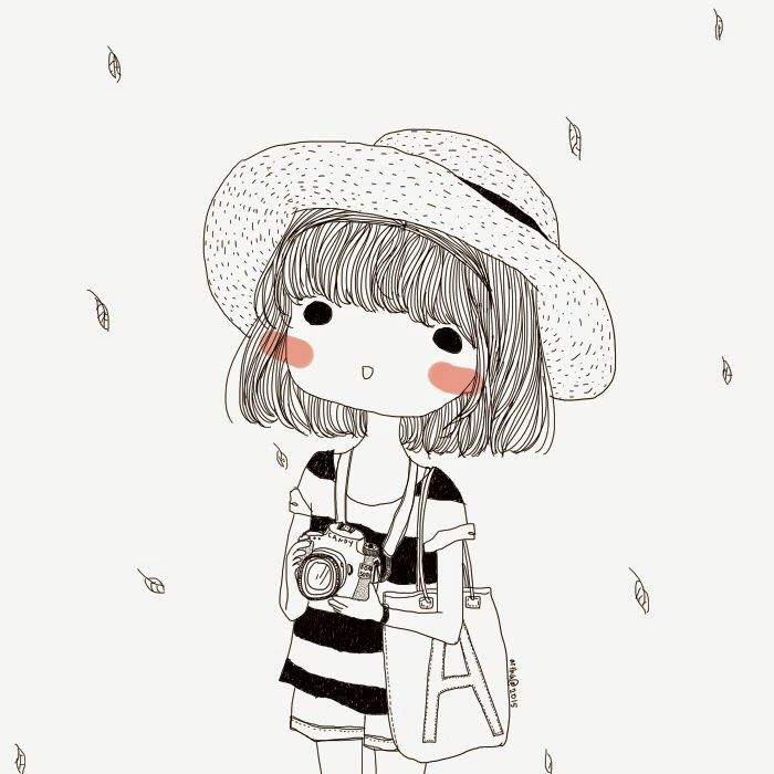 black and white sketch, girl holding a camera, short hair and a hat, cute drawing ideas