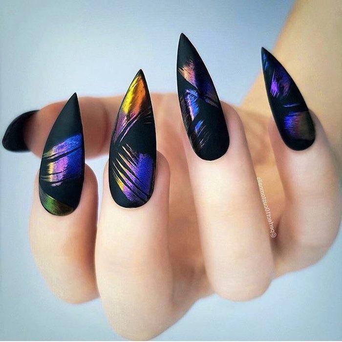 long stiletto nails, nail designs, black matte nail polish, colourful brush strokes on the nails
