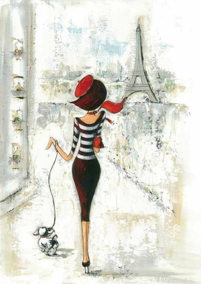 parisian woman, red hat and scarf, cute drawing ideas, eiffel tower in the background