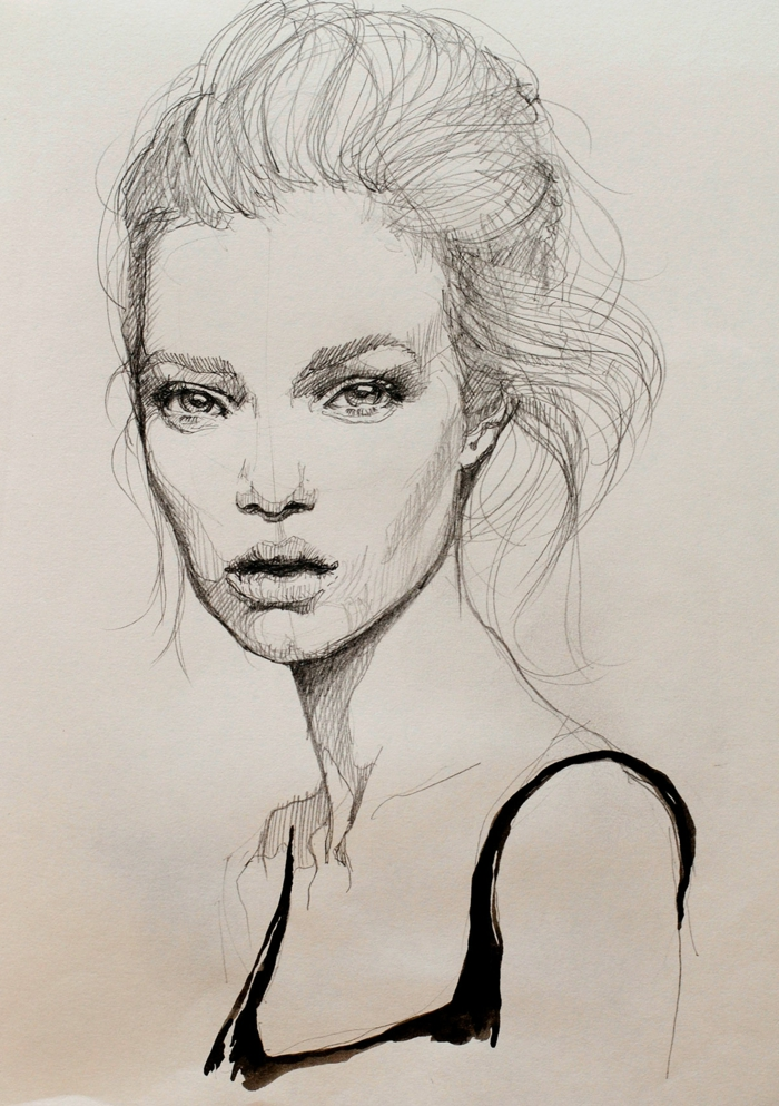 black and white sketch, hair in a messy bun, cute sketches, white background, drawing of a woman