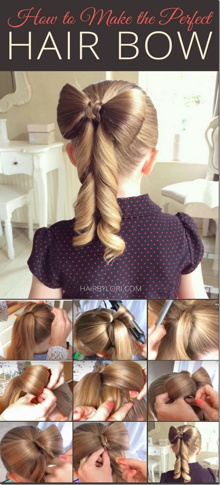 long dark blonde hair, in a hair bow with curls, braided hairstyles for little girls, step by step tutorial