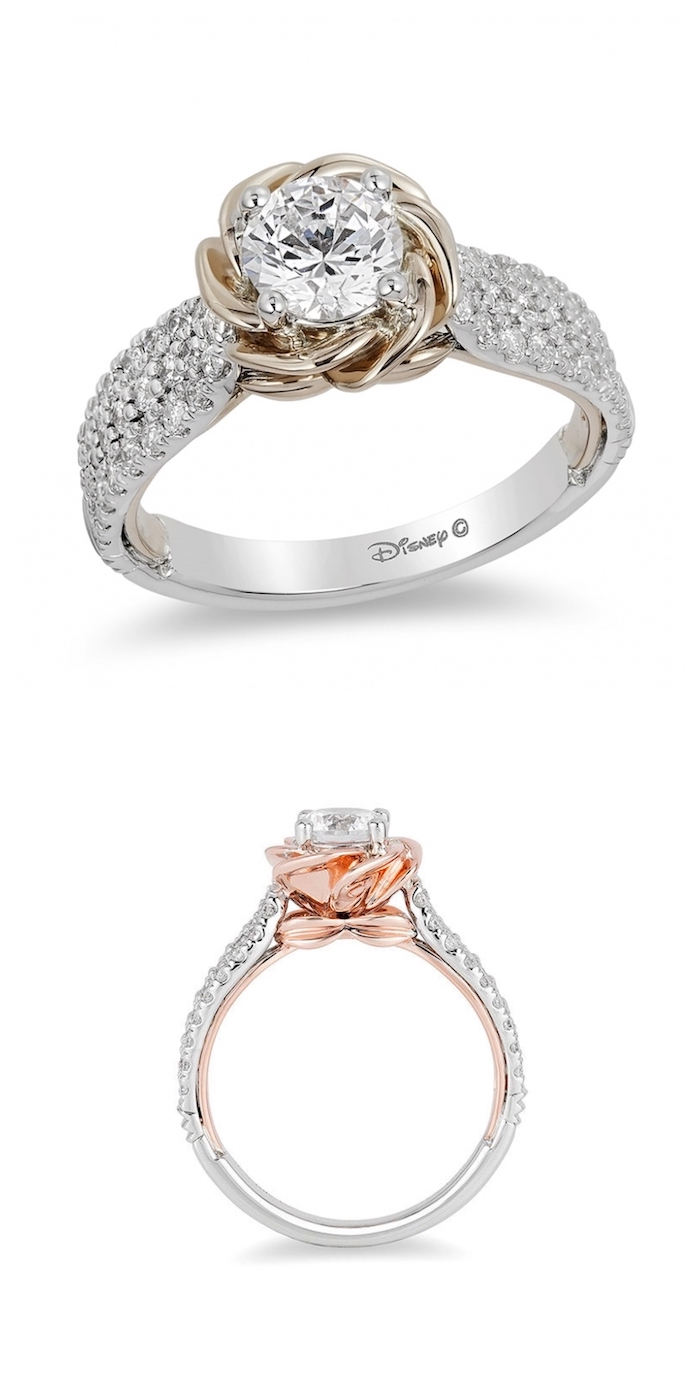 white gold and rose gold mix, diamond studded band, unique engagement rings, belle disney princess inspired ring