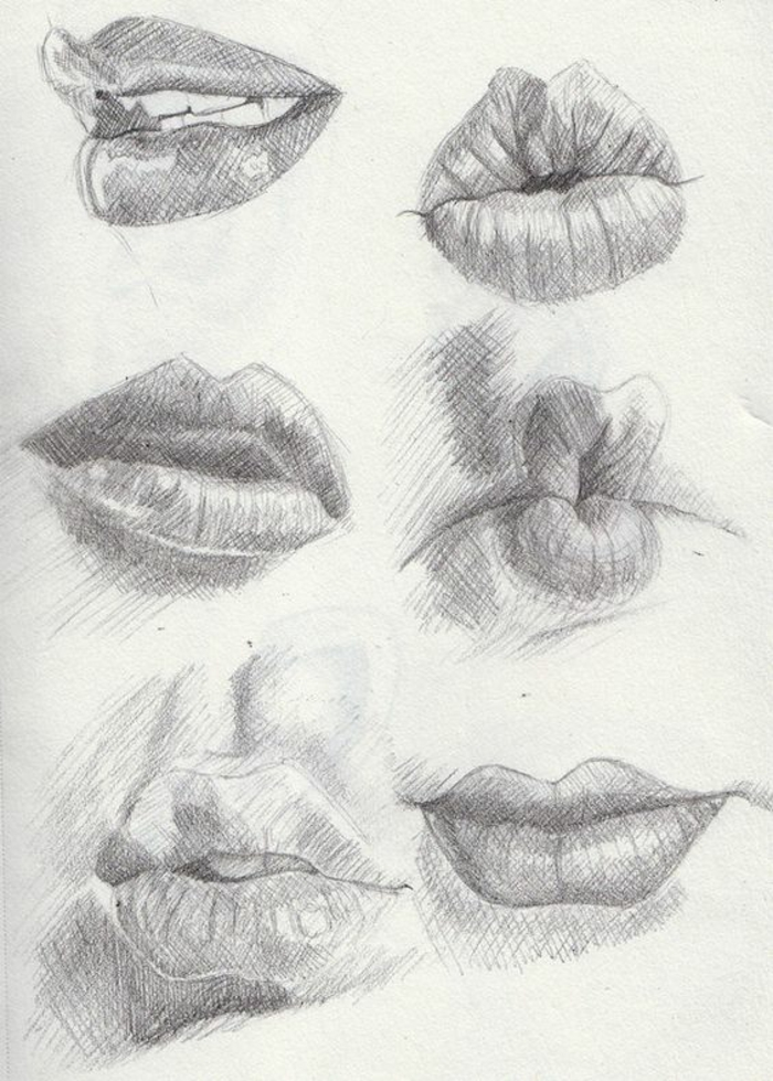 different kinds of lips, black and white sketches, cute sketches, white background