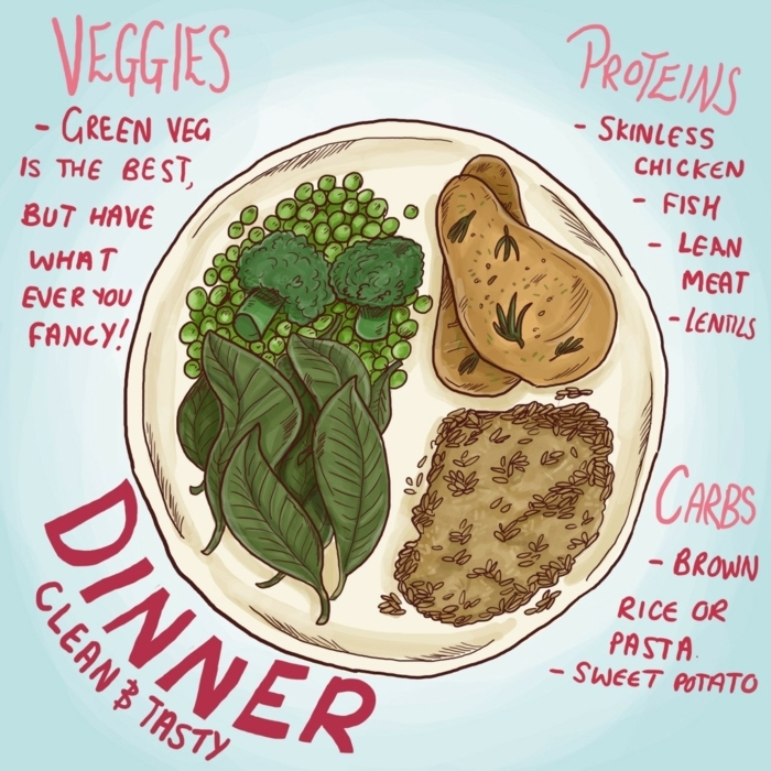 what should i eat for lunch, drawing of healthy foods. veggies carbs and proteins ratio, healthy food chart