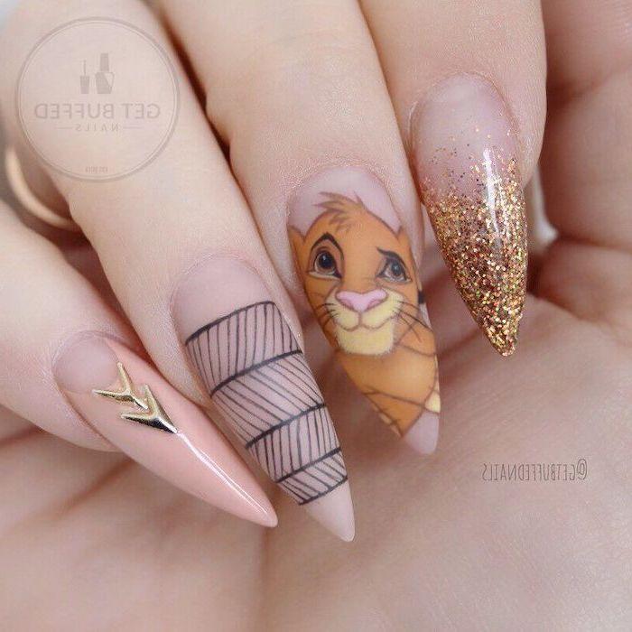pink nail polish, disney inspired simba drawing, pink nail designs, long stiletto nails
