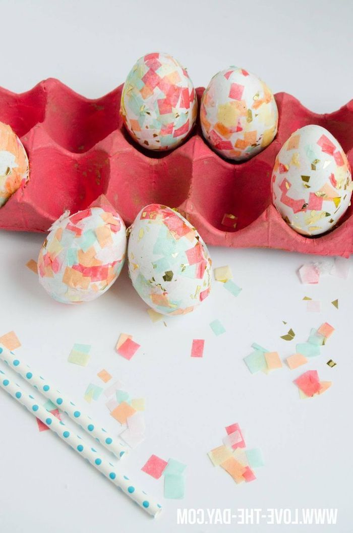 dying eggs with food coloring, pink egg carton, white eggs, with confetti on them, diy tutorial